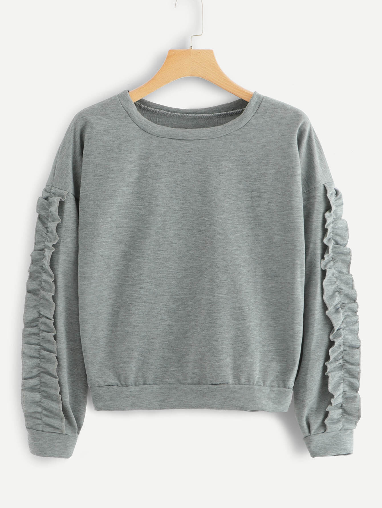 Купить Повседневный Ровный цвет Оборка Пуловеры Серый Свитшоты, null, SheIn