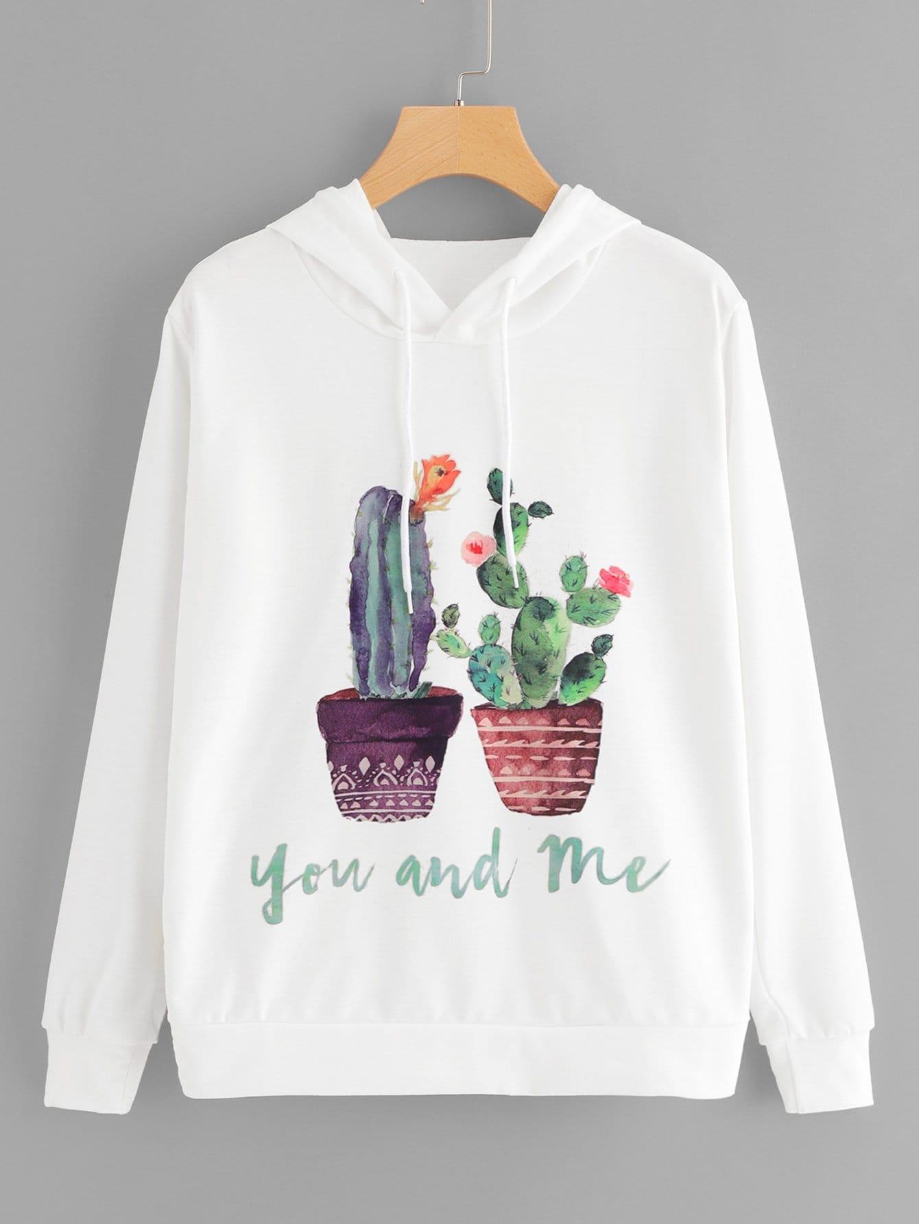 Купить Повседневный Мультяшный принт на кулиске Пуловеры Белый Свитшоты, null, SheIn