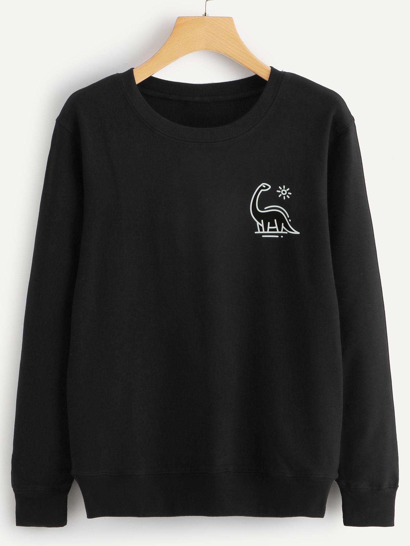 Повседневный Мультяшный принт Пуловеры Черный Свитшоты