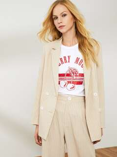 Notch Collar Double Breasted Front Striped Blazer