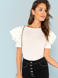 Puff Sleeve Round Neck Top