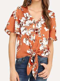 Button Up Flounce Sleeve Knot Floral Blouse