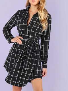 Waist Knot Collar Plaid Dress