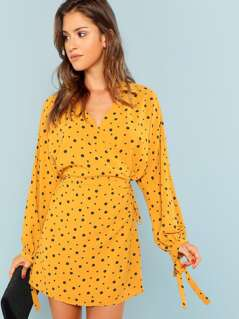 Waist Belted Bishop Sleeve Polka Dot Dress
