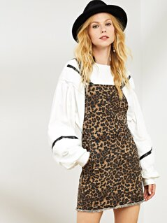 Slant Pocket Raw Hem Leopard Pinafore Dress