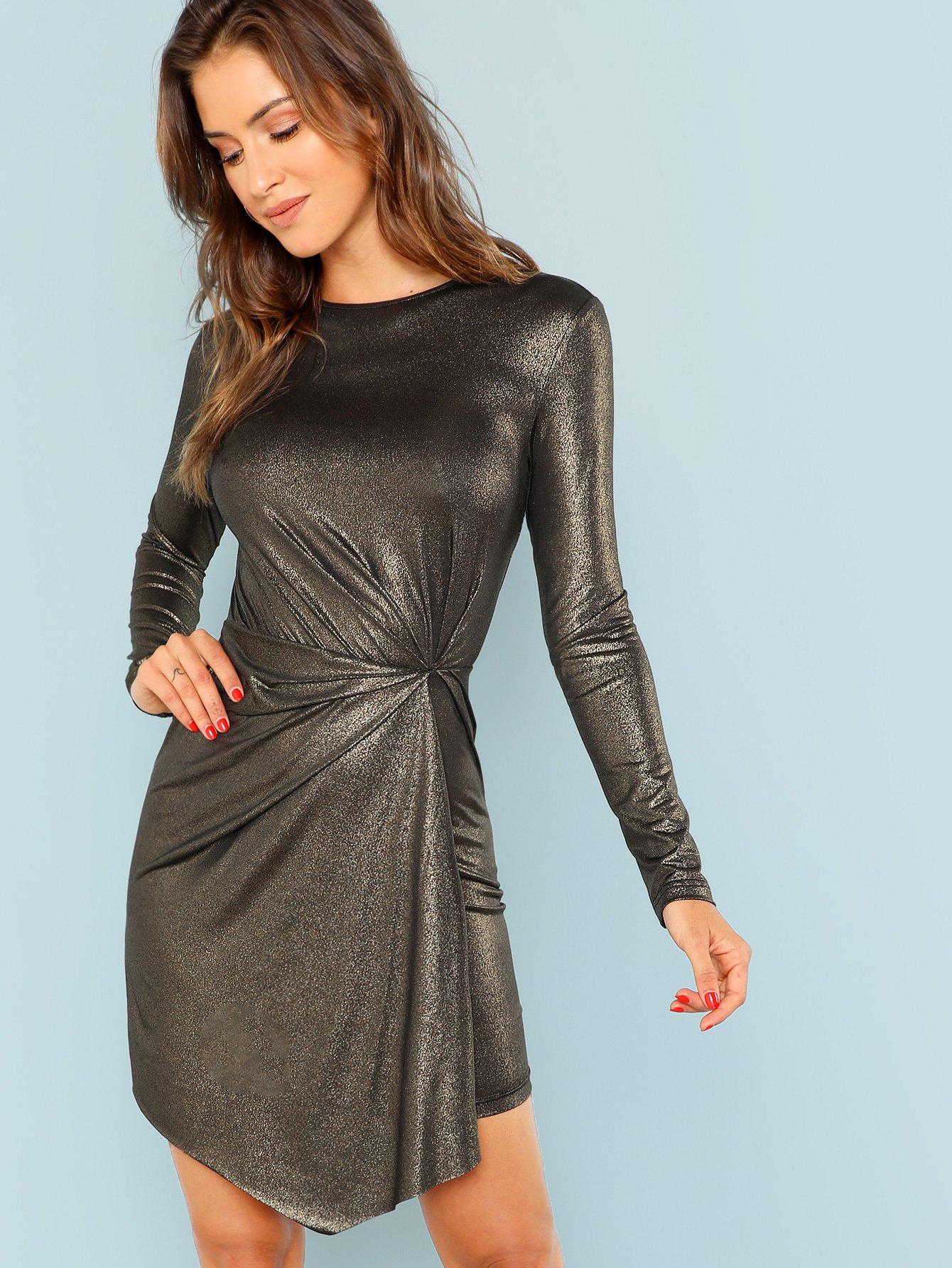 Купить Платье металлического цвета и со складками в талие, Noelle Brown, SheIn