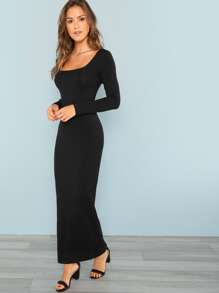 Square Neck Fitted Solid Maxi Dress