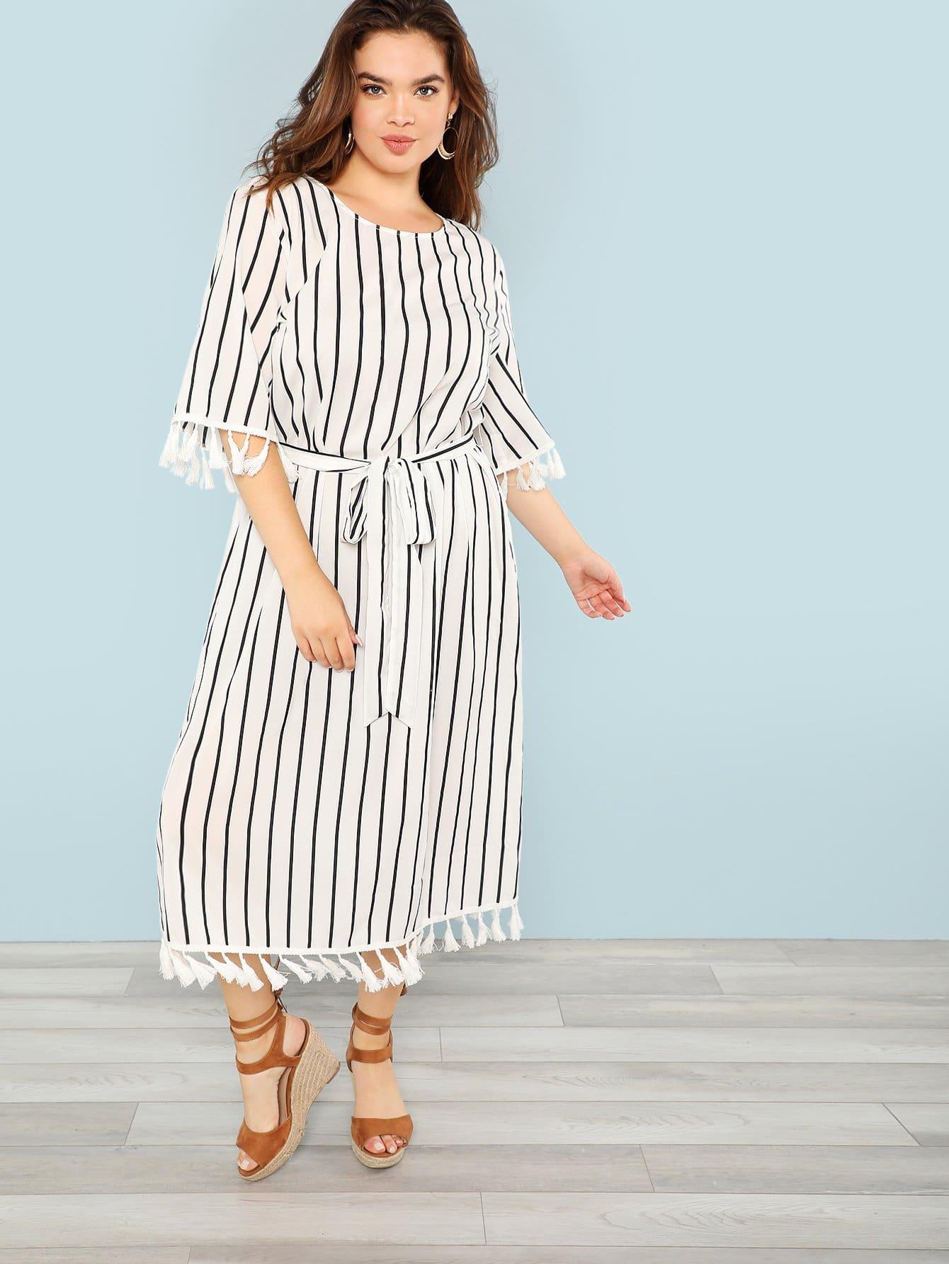 Купить Большое Полосатое Платье С Затянутым Поясом и С Бахромами, Faith Bowman, SheIn