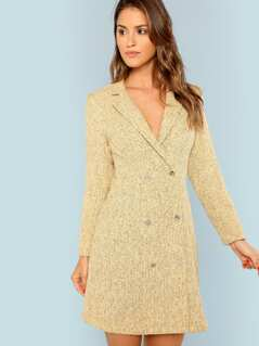 Notch Collar Double Breasted Tweed Dress