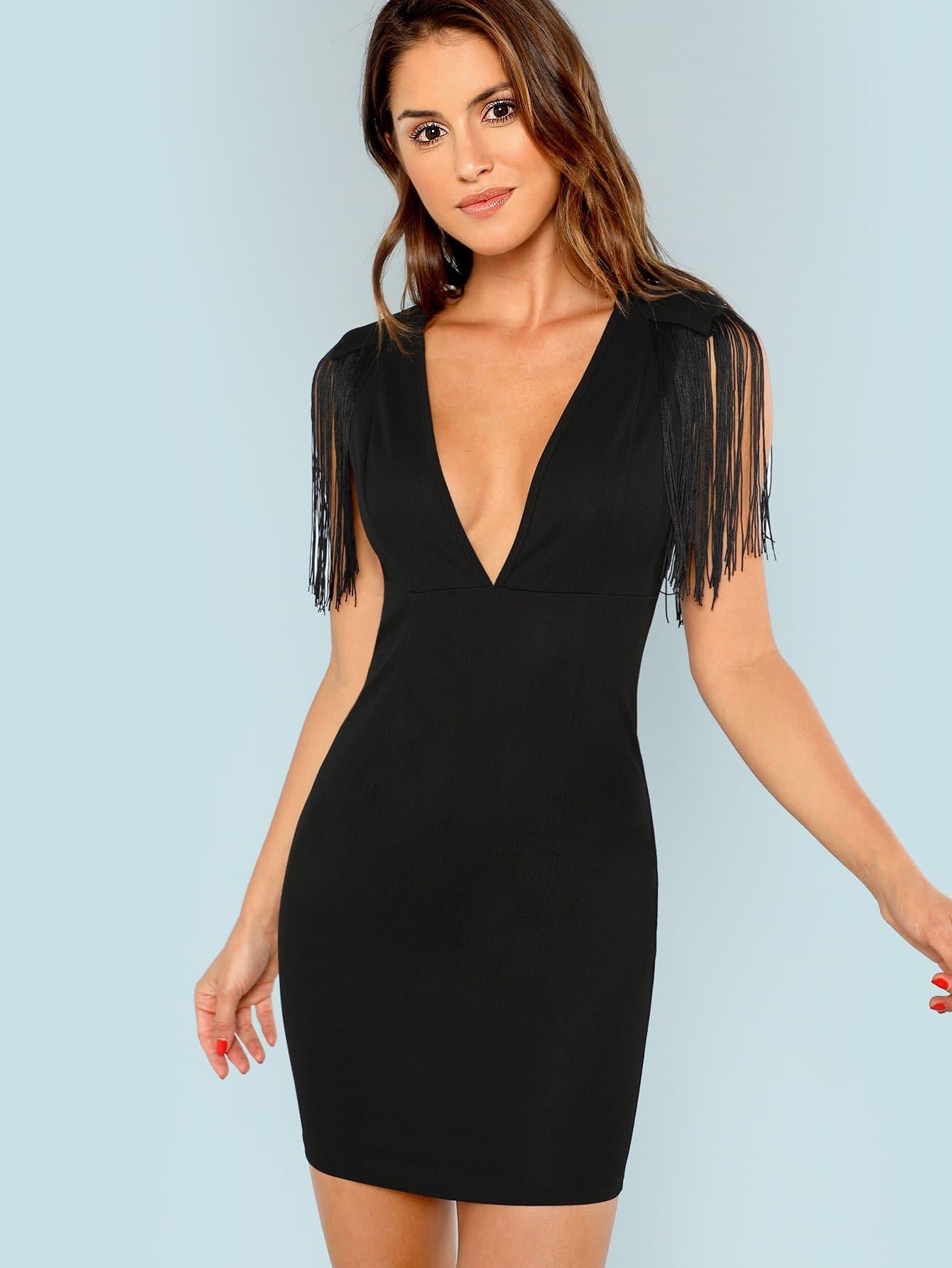 Низкий воротник бахромой облегающее платье, Noelle Brown, SheIn  - купить со скидкой