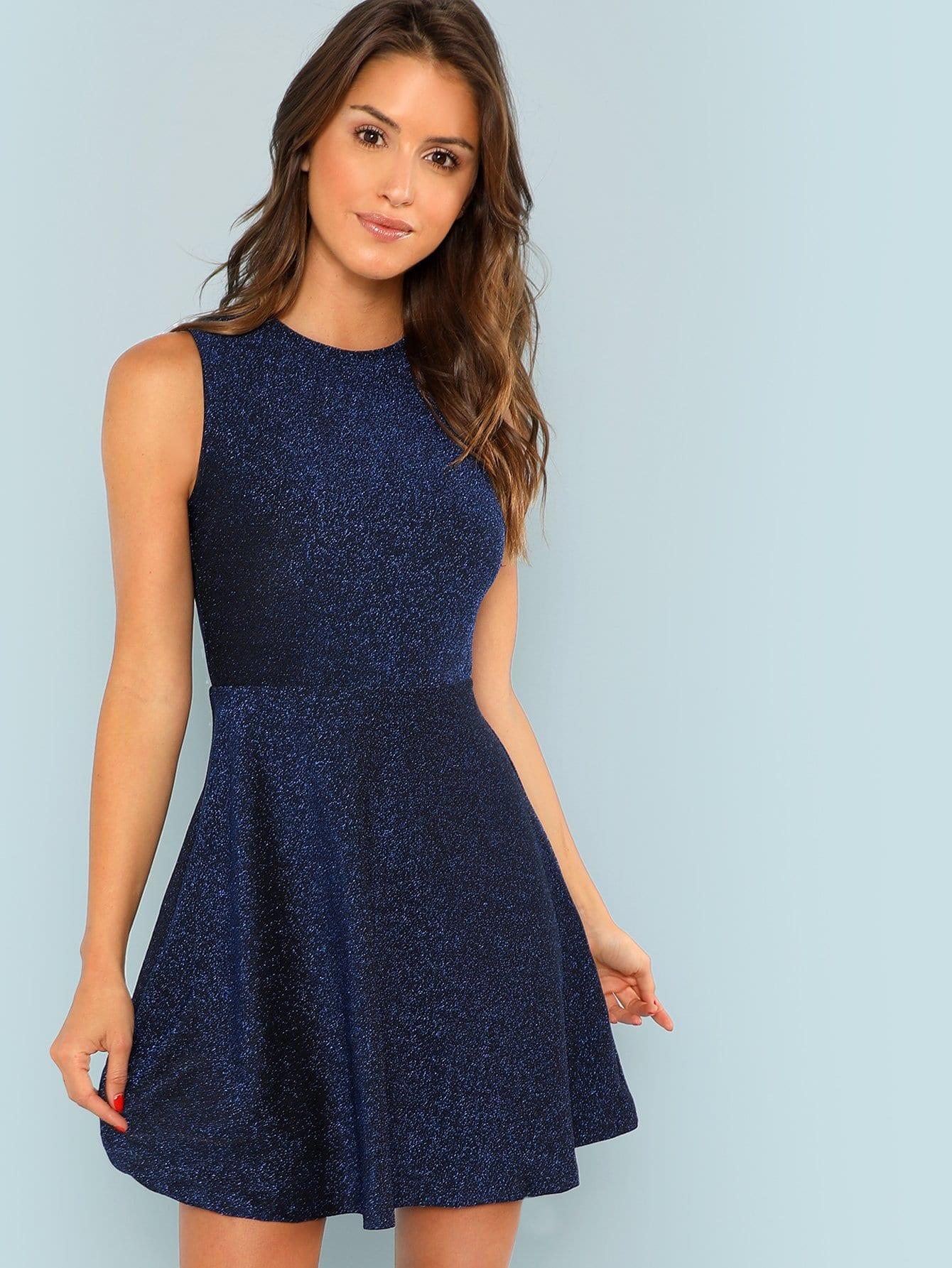 Купить Приталенное блесток платье без рукавов, Noelle Brown, SheIn