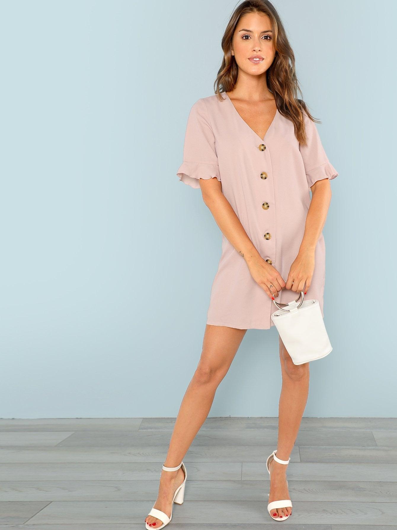 Купить Платье с оборками рукавами и декоративным карманом, Noelle Brown, SheIn