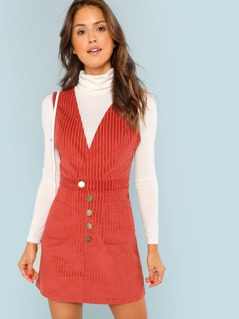 Surplice Neck Pocket Front Corduroy Dress