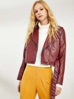 Contrast Tipped Faux Leather Jacket