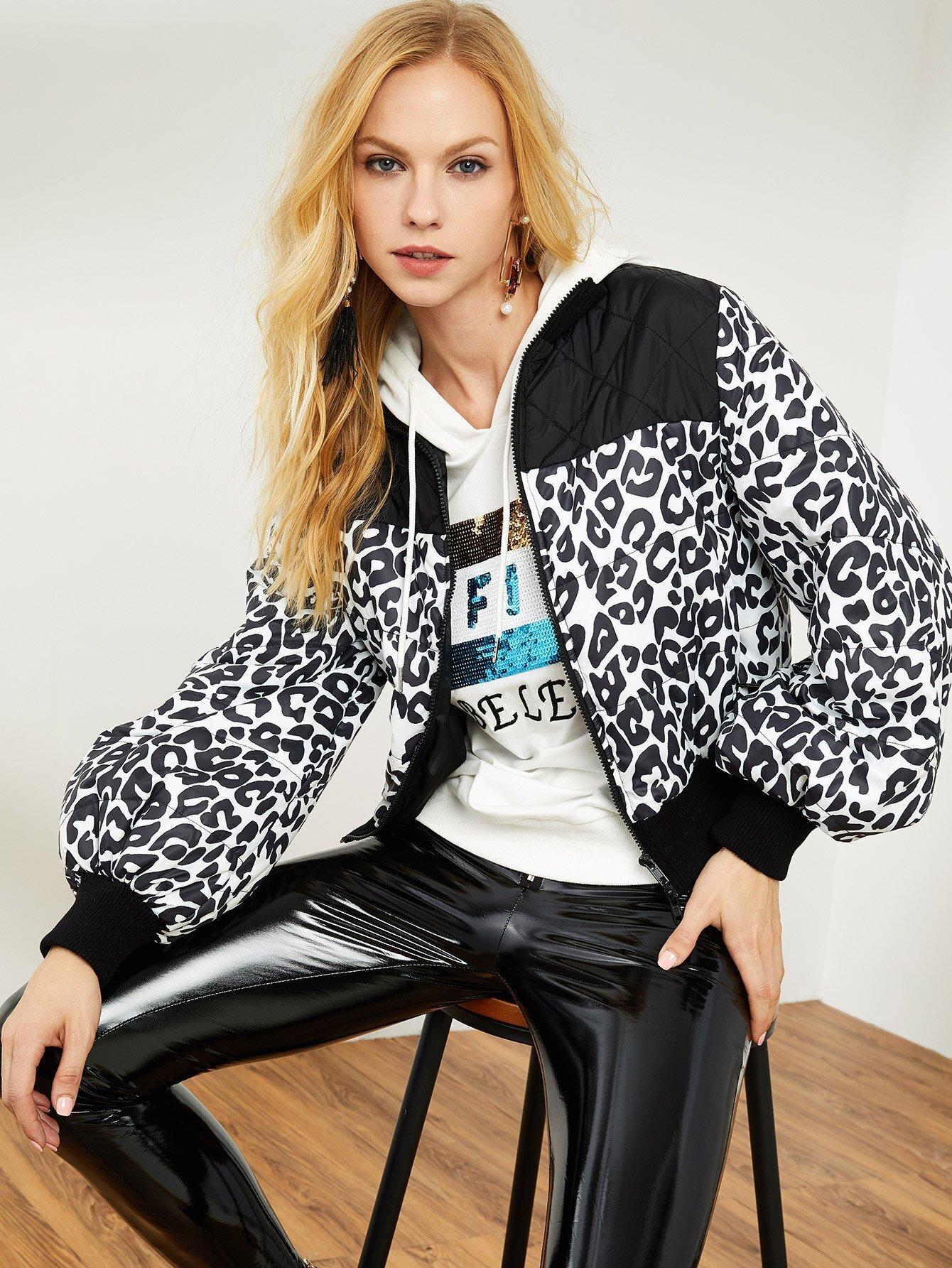 Текстурированная панель Zip Up Leopard Jacket