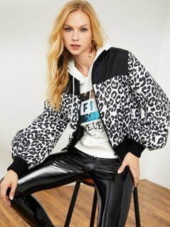 Solid Quilted Yoke Zip Up Leopard Jacket