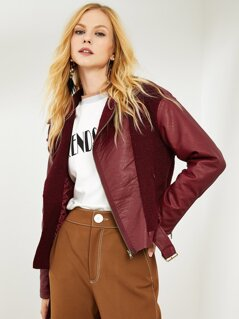 Asymmetric Zip Placket Belted Faux Shearling Jacket