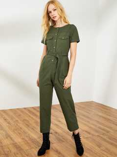 Pocket Front Button Half Placket Belted Jumpsuit