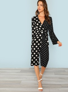 Bell Sleeve Self Belted Surplice Wrap Jumpsuit