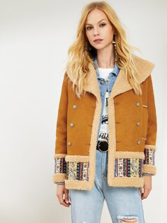 Tribal Print Soft Fur Coat