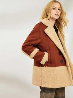 34ab80f82 Double Breasted Two Tone Faux Shearling Coat
