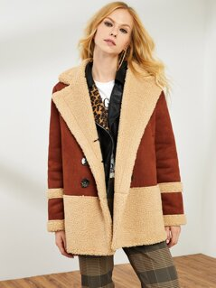 Double Breasted Two Tone Faux Shearling Coat