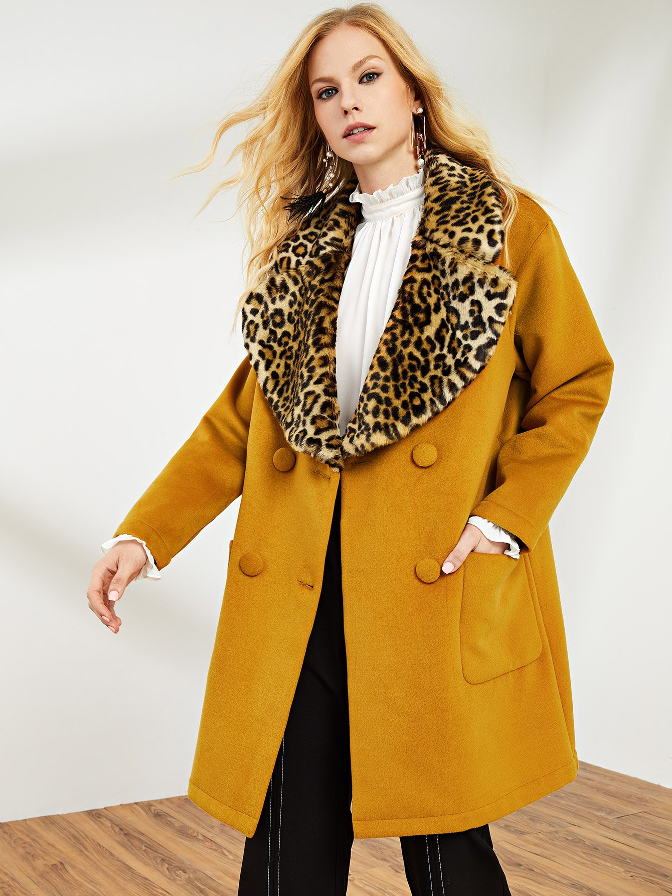 Купить Преувеличивает двойное бисерное пальто Leopard Collar, Denisa, SheIn