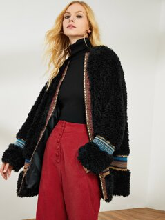 Contrast Geo Tape Faux Fur Longline Coat
