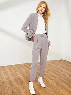 Pocket Side Plaid Tapered Pants
