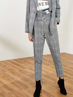 Button Up Belted Tie Hem Pants