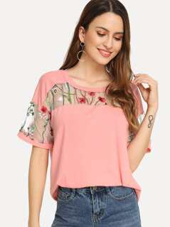 Embroidered Mesh Yoke Top