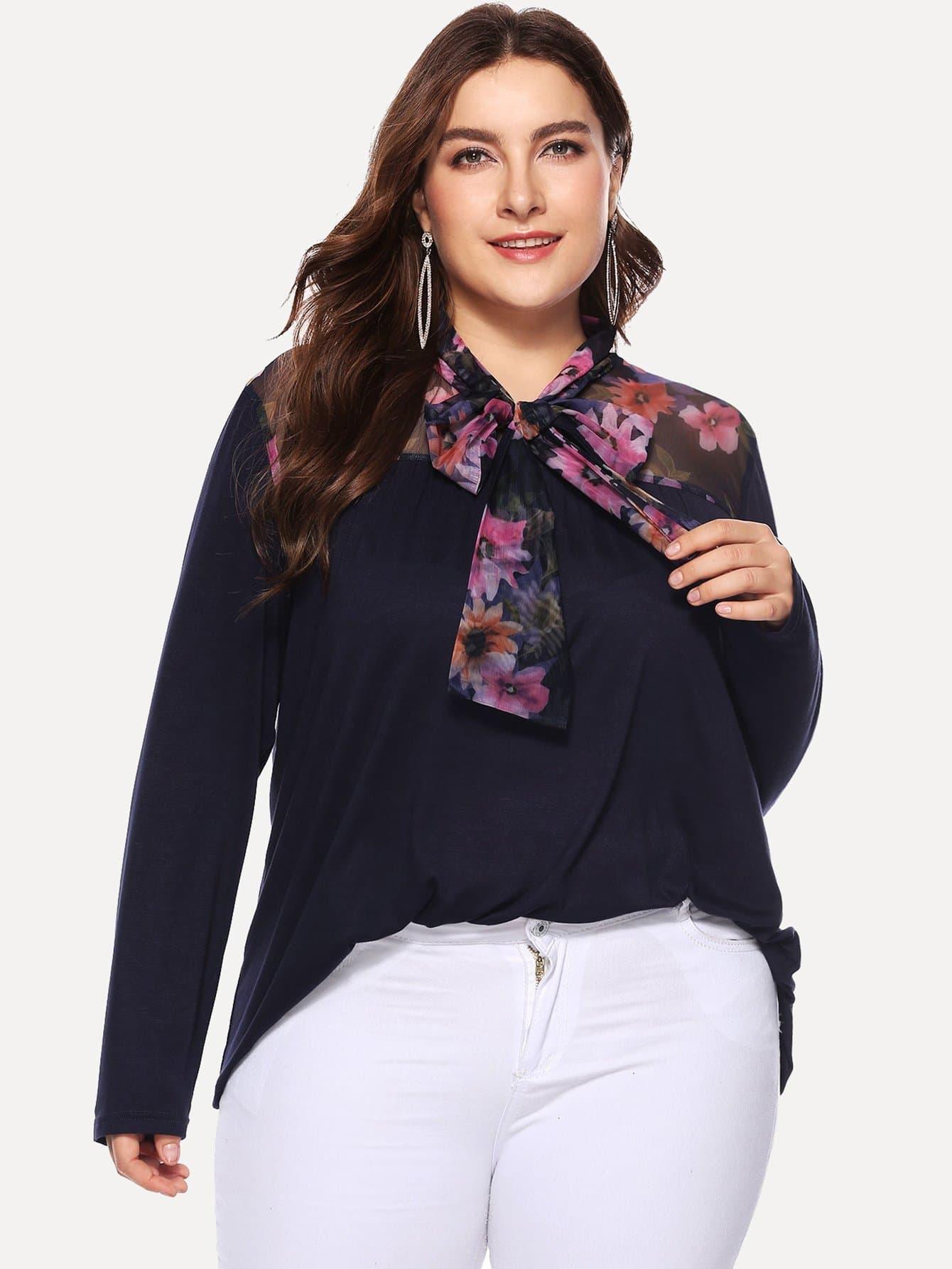 Купить Повседневные Цветочный с бантом Тёмно-синие Блузы большого размера, Franziska, SheIn