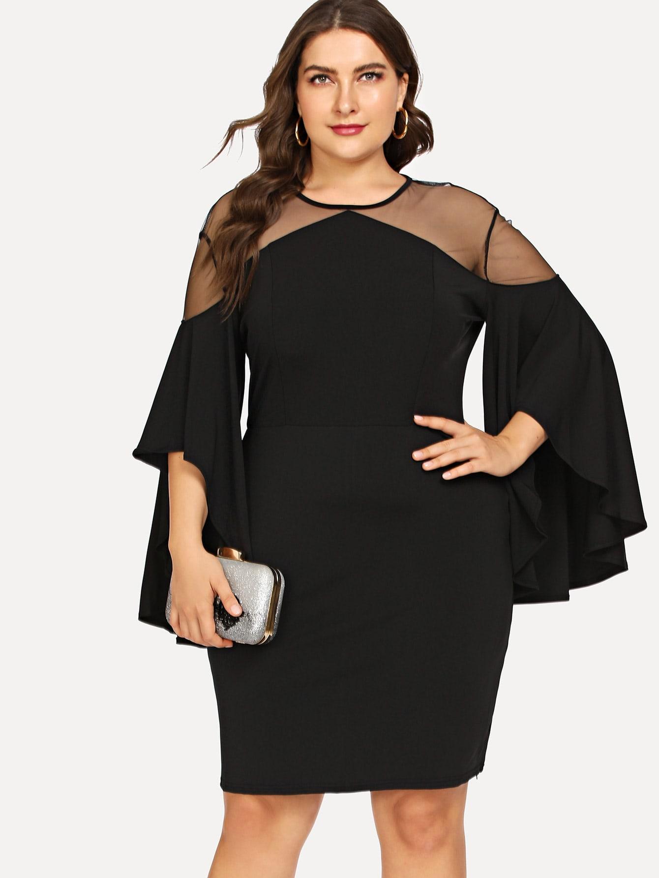 Купить Партия Одноцветный Контрастная сетка Чёрные Платья большого размера, Franziska, SheIn