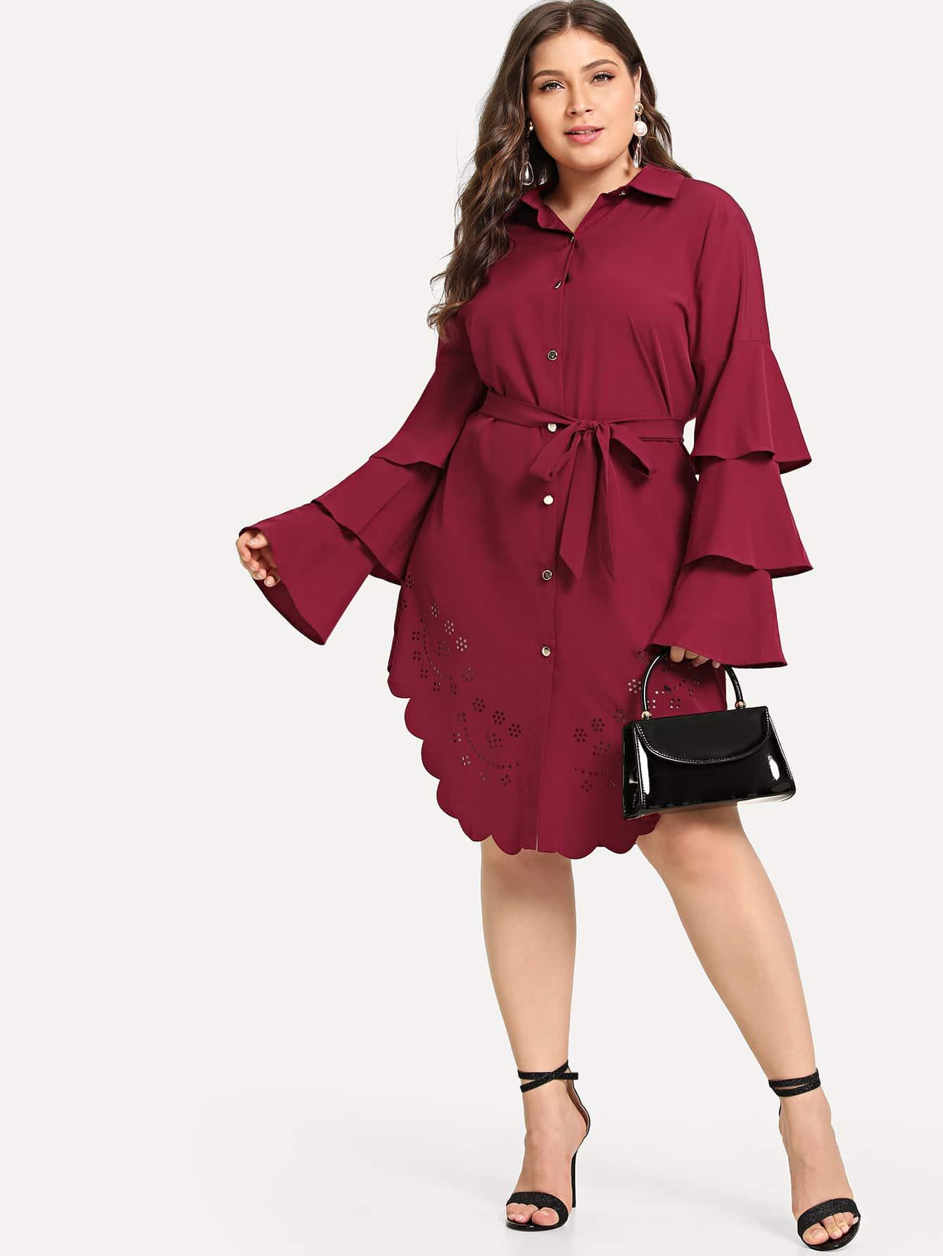 e1860c31fc9 Бордовый Кайма Одноцветный Повседневные Платья размера плюс
