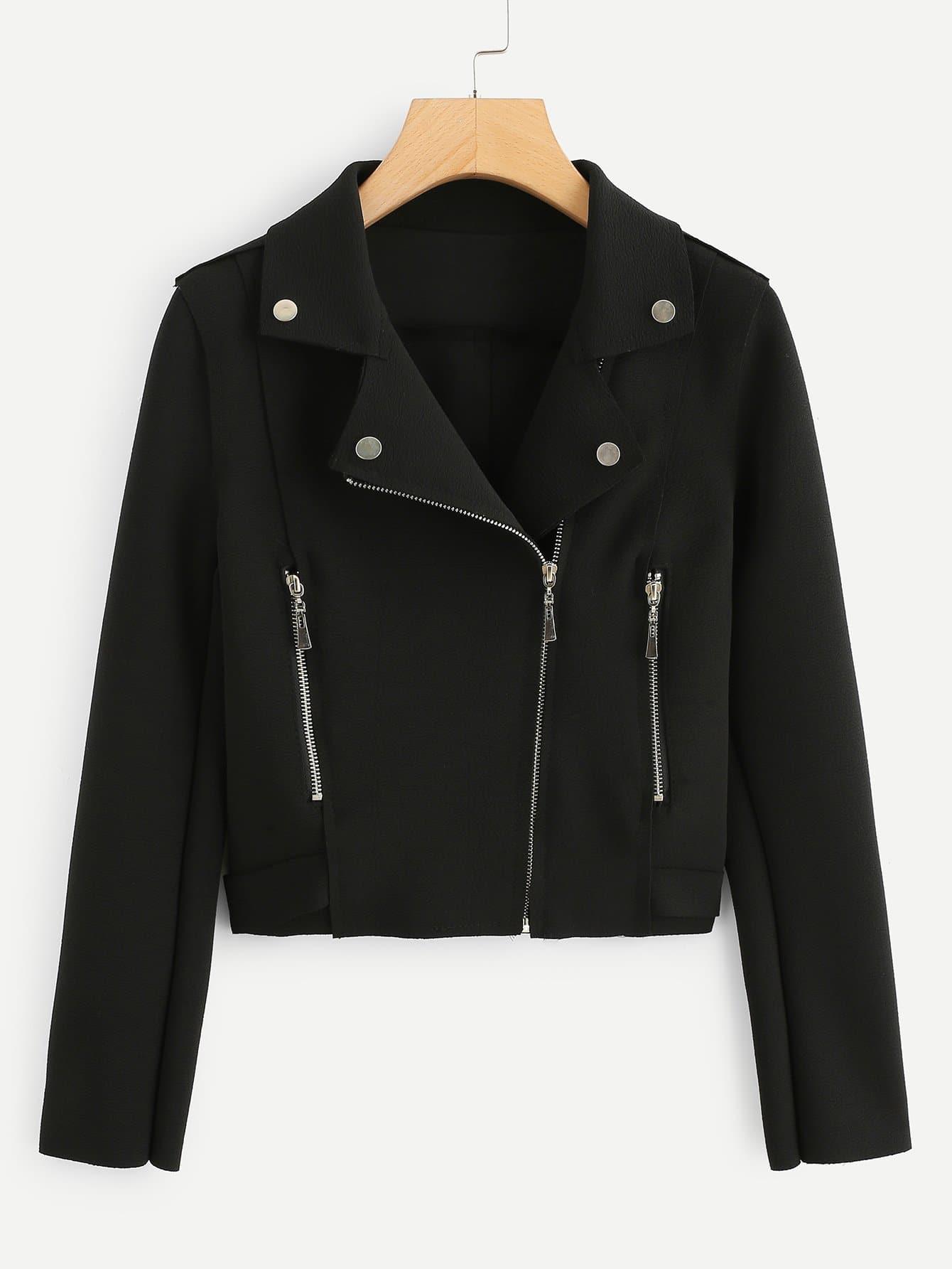 Купить Повседневный Одноцветный на молнии Байкер Черный Жакеты + Куртки, null, SheIn