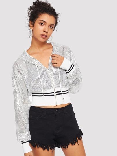 Sequin Detail Hooded Jacket