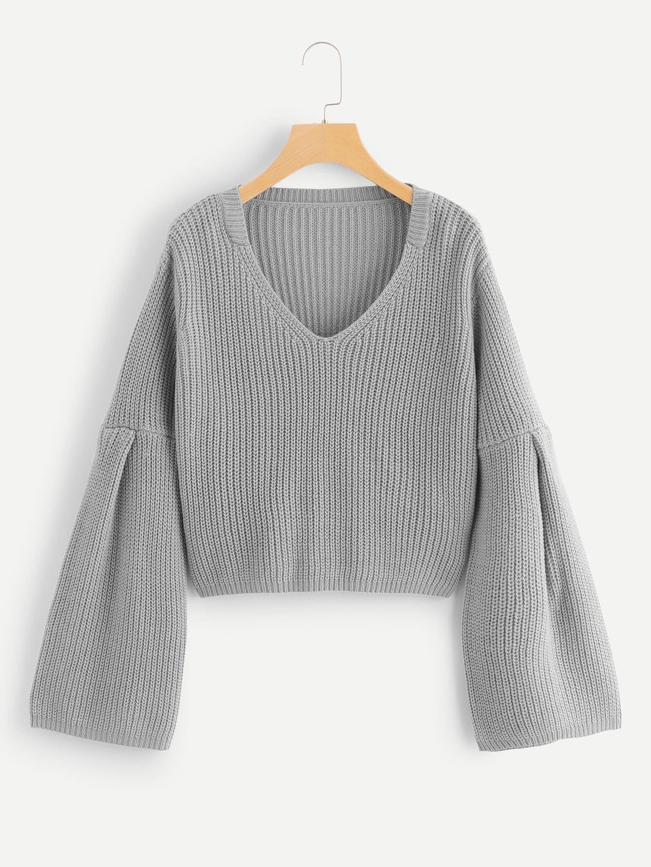 Pullover mit Schößchensaum auf den Ärmeln und V Ausschnitt