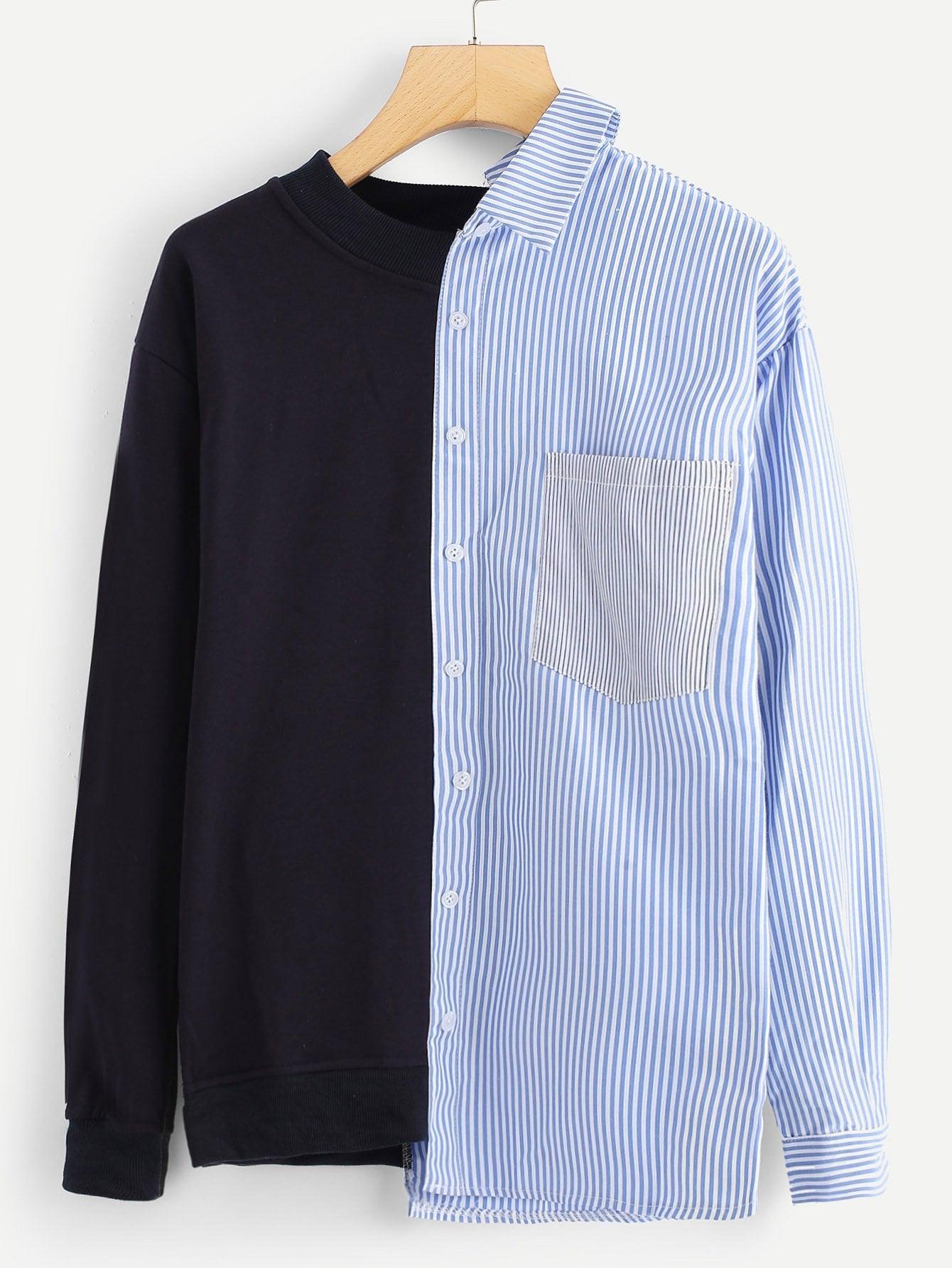 Cut And Sew Panel Striped Sweatshirt