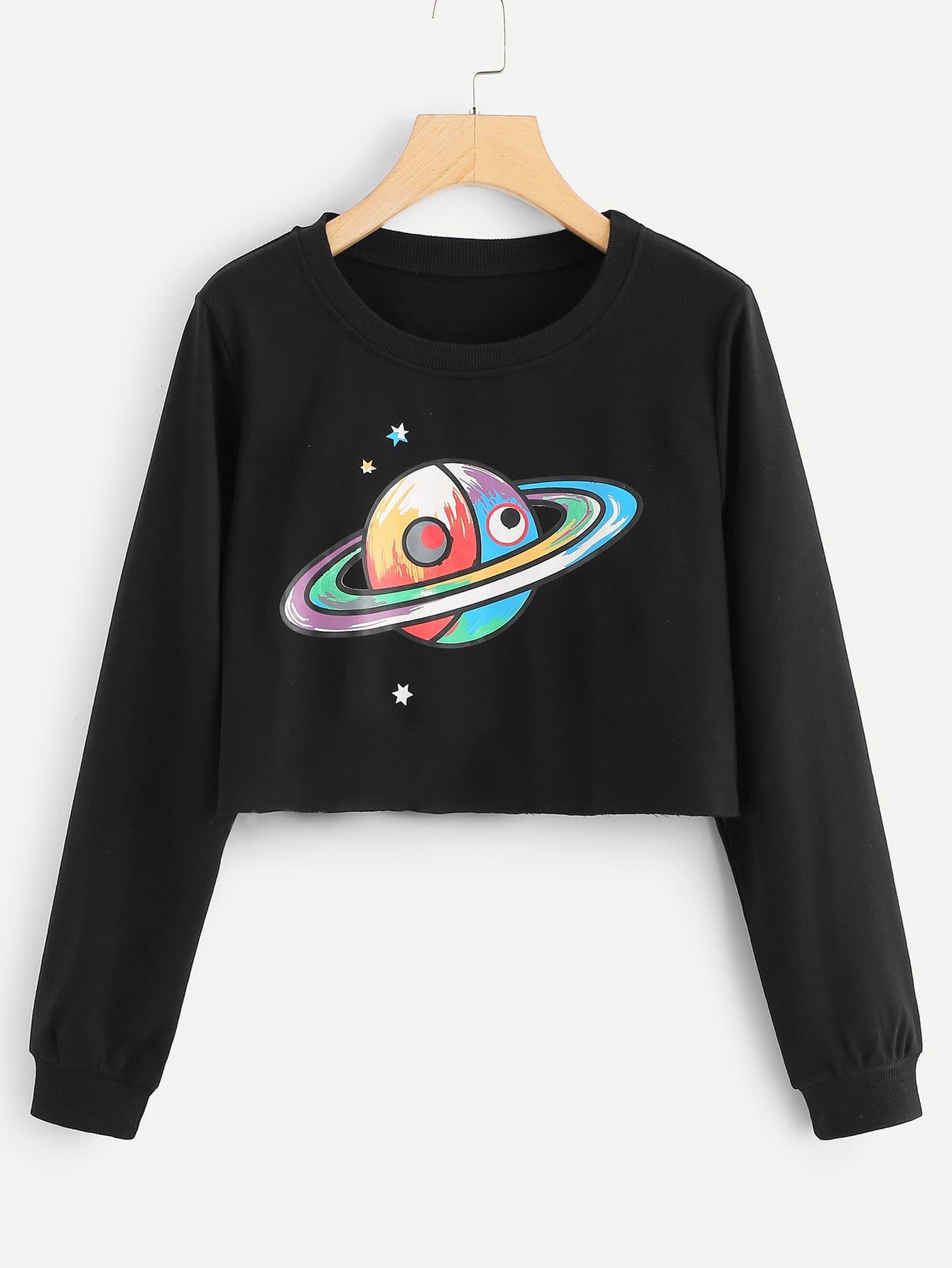 Купить Повседневный Принт космос Пуловеры Черный Свитшоты, null, SheIn