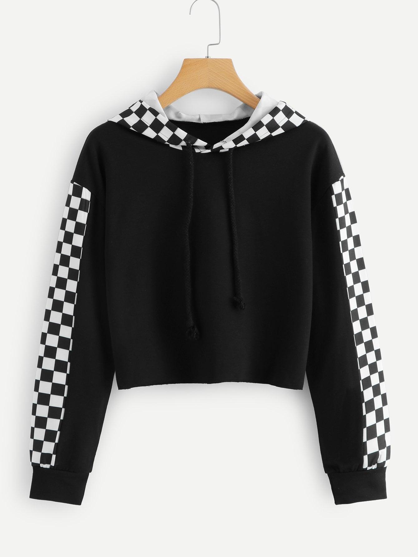 Купить Повседневный Шеврон на кулиске Пуловеры Черный Свитшоты, null, SheIn