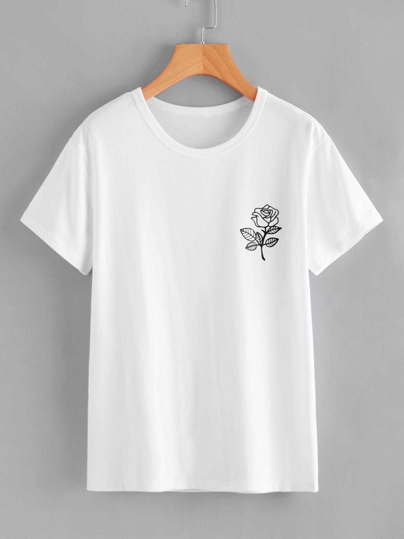 Купить Повседневные Цветочный Белые Топыразмераплюс, null, SheIn