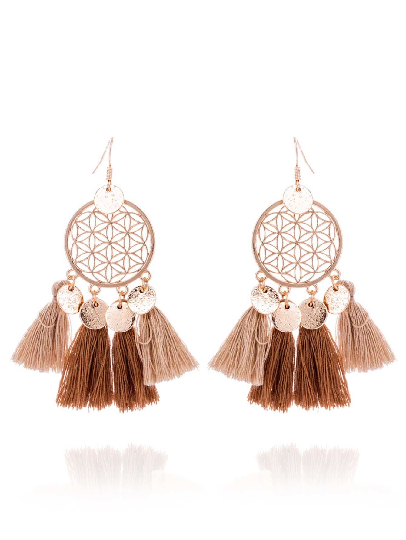 Disc Decorated Tassel Drop Earrings