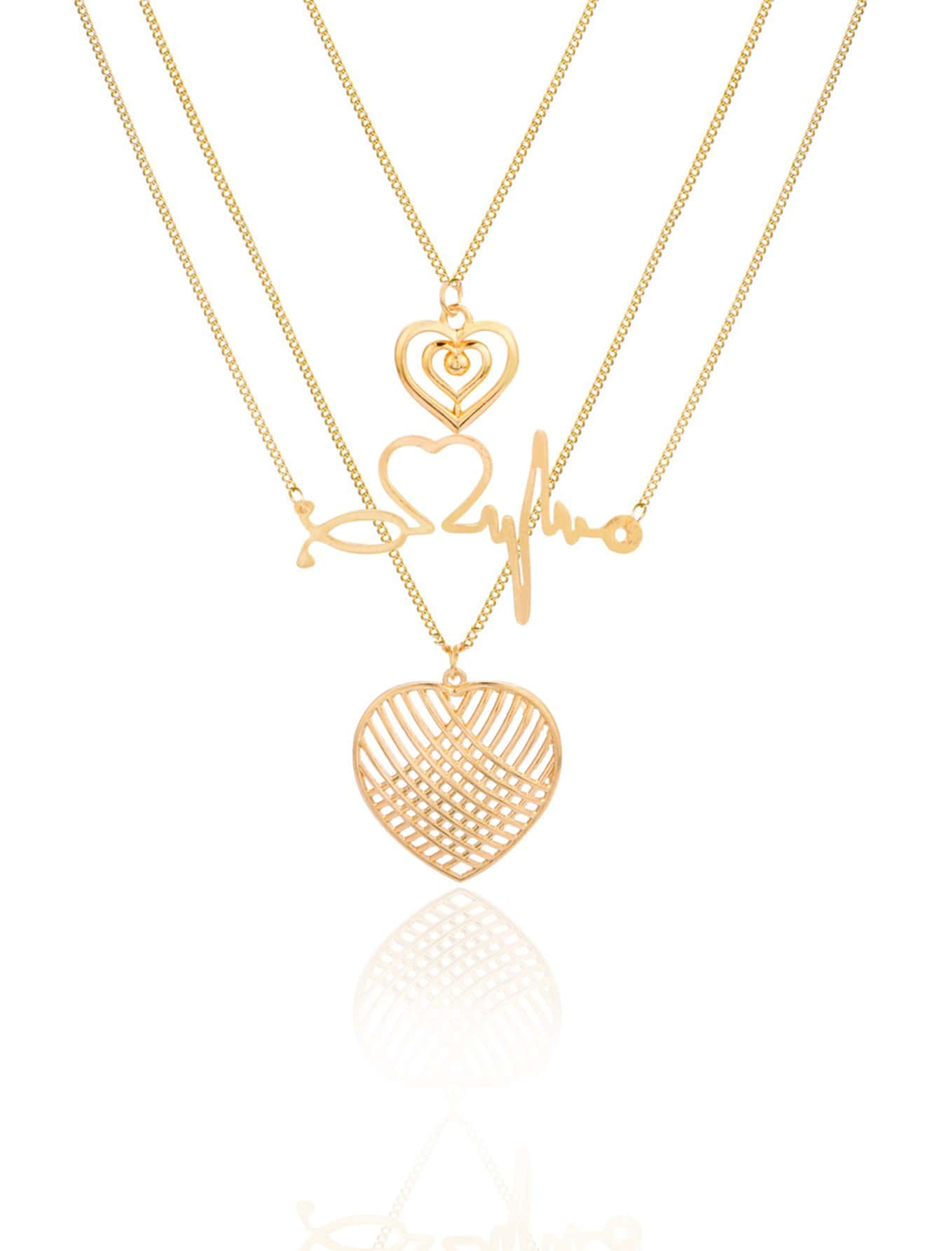 Herz Anhänger Geschichtete Kette Halskette