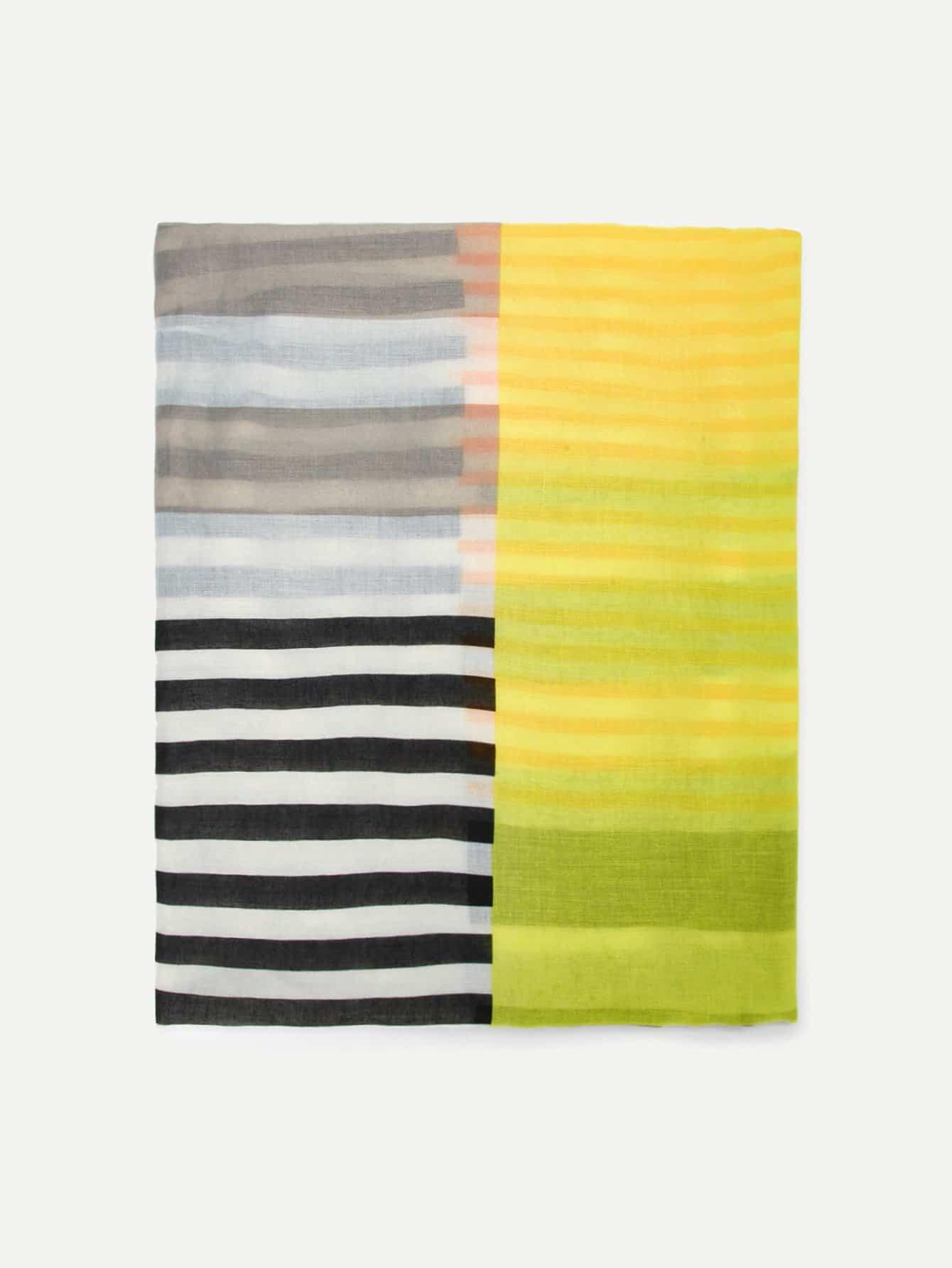 Купить Полосатый цветный кусковой шарф, null, SheIn