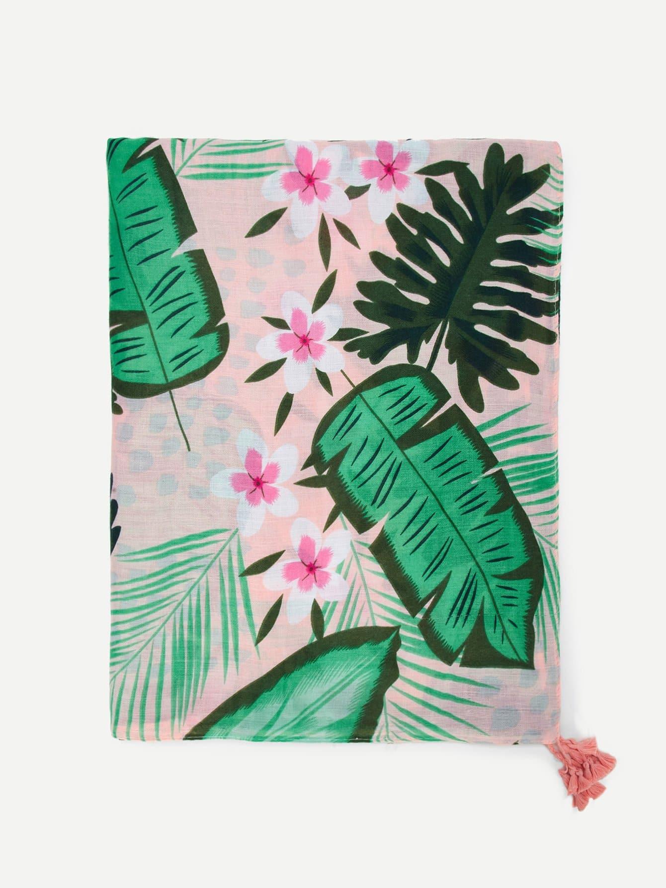 Купить Шарф с рисунками пальм и с украшением кистей, null, SheIn