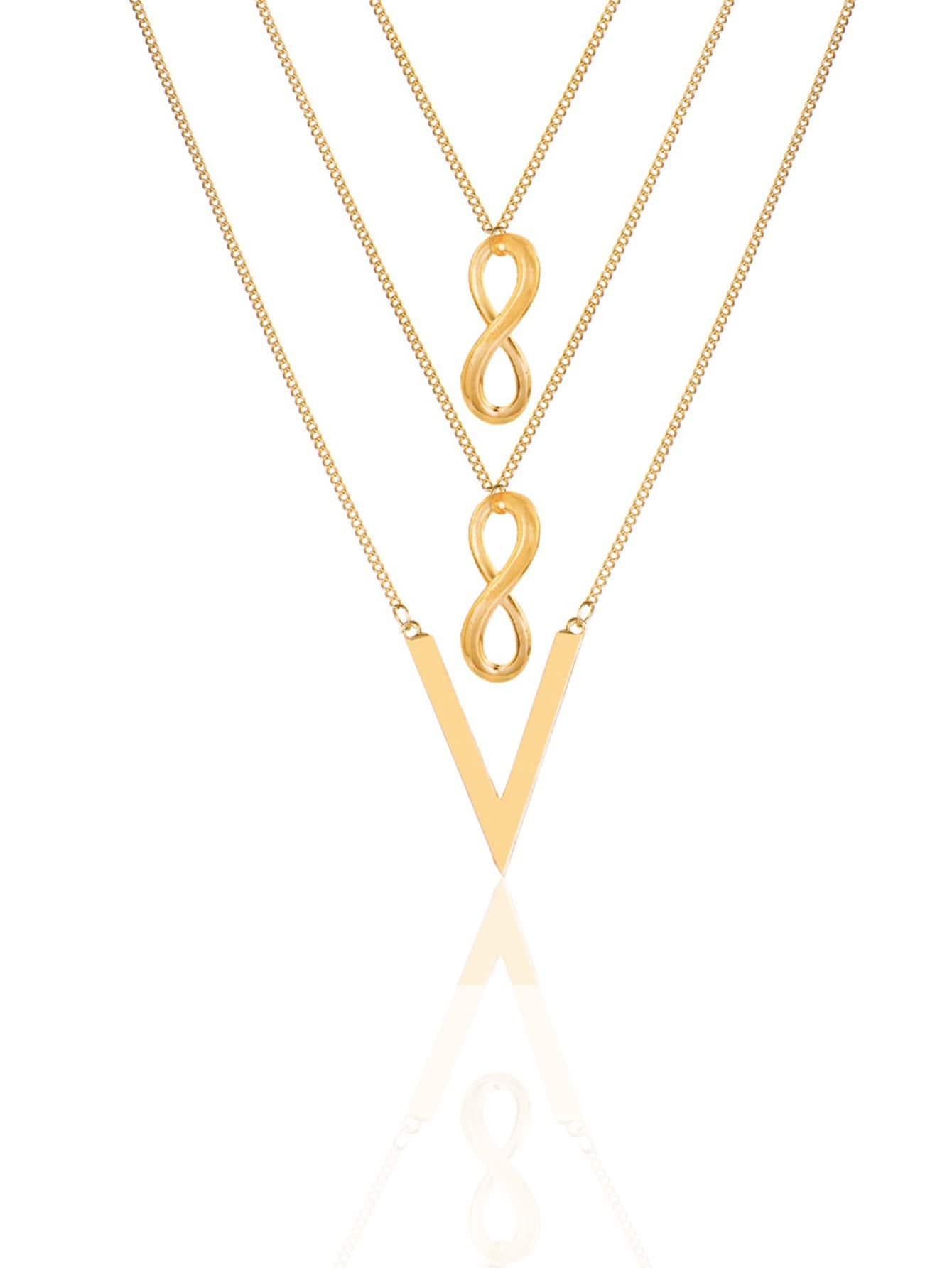 Infinity Detail Layered Chain Necklace