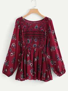 Bell Sleeve Calico Print Top