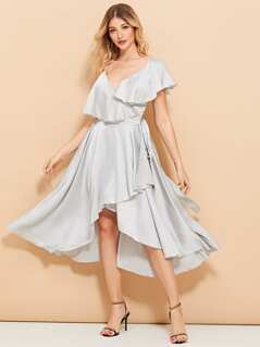 Ruffle Trim Knot Side Surplice Wrap Dress