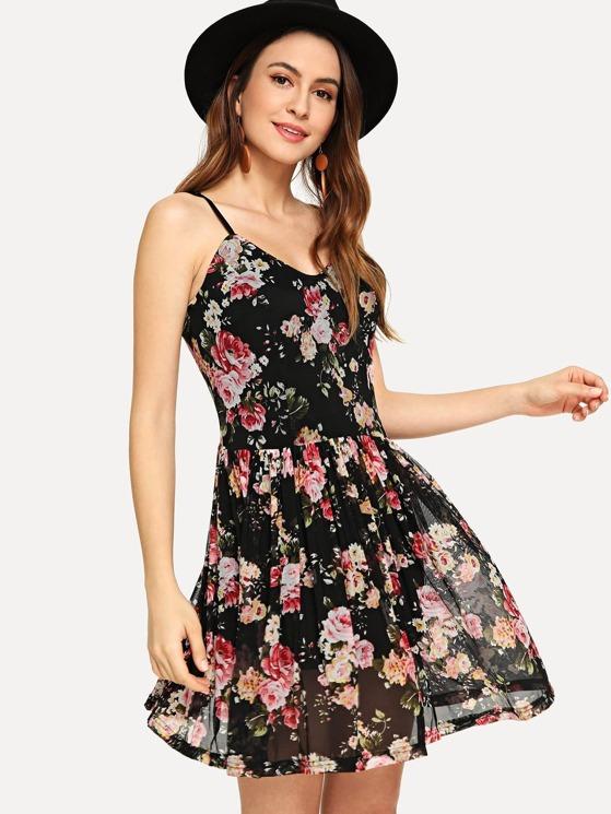 4c071646afea2 Flower Print Fit & Flare Cami Dress