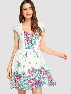 Lace Up Front Floral Swing Dress